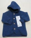 Engel Baby-Jacke mit Kapuze, 100% Bio-Wollfleece (kbT), blau melange