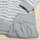 Schlafanzug zweiteilig, Bio-Baumwolle, grau-weiß