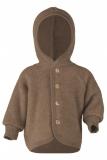 Baby-Jacke mit Kapuze, Bio-Wollfleece, grün melange