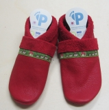 Pantolinos Lederstrümpfe-Lauflernschuhe, Wollfilzeinlagen,  Natur-Leder, rot mit Igelborde