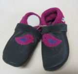 Pantolinos Lederstrümpfe-Lauflernschuhe, Wollfilzeinlagen, Natur-Leder, dunkelgrau pink