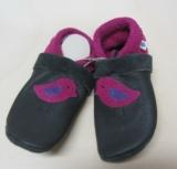 Lederstrümpfe-Lauflernschuhe, Natur-Leder, dunkelgrau pink