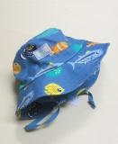 Mütze mit Krempe und Tunnelzug, PICKAPOOH-Fischerhut, 100% Bio-Baumwolle (kbA), fische