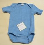 Cosilana Body halbarm, Bio-Baumwolle-Bio-Wolle und Seide, blau