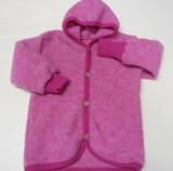 Baby-Jacke mit Kapuze, Bio-Wollfleece, pink melange