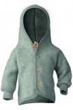 Engel Baby-Jacke mit Kapuze, 100% Bio-Wollfleece (kbT), hellgrau melange